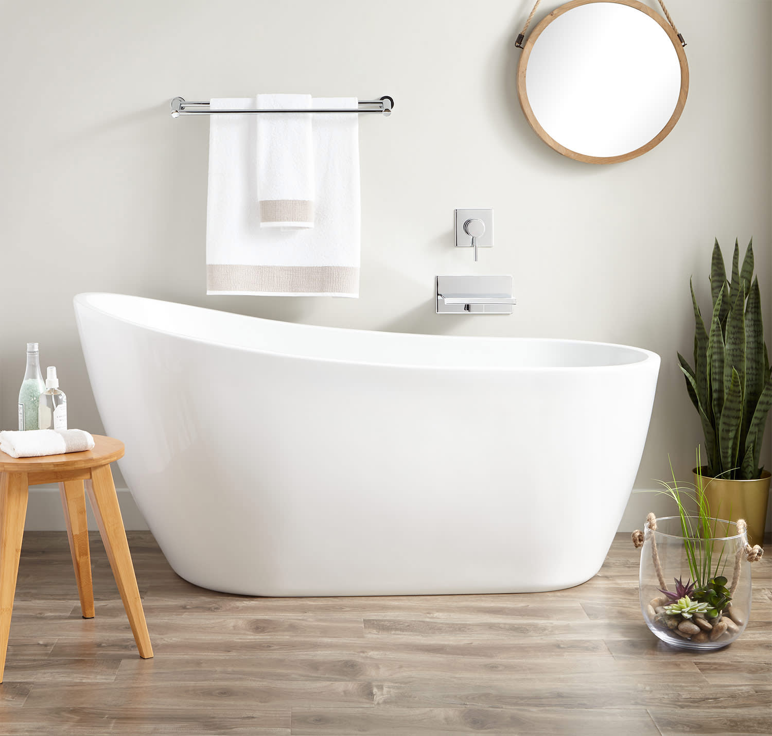 Signature Hardware 445941 White Polished Brass Drain Sheba 60 Free Standing Acrylic Soaking Slipper Tub With Reversible Integrated Drain And Overflow Faucetdirect Com