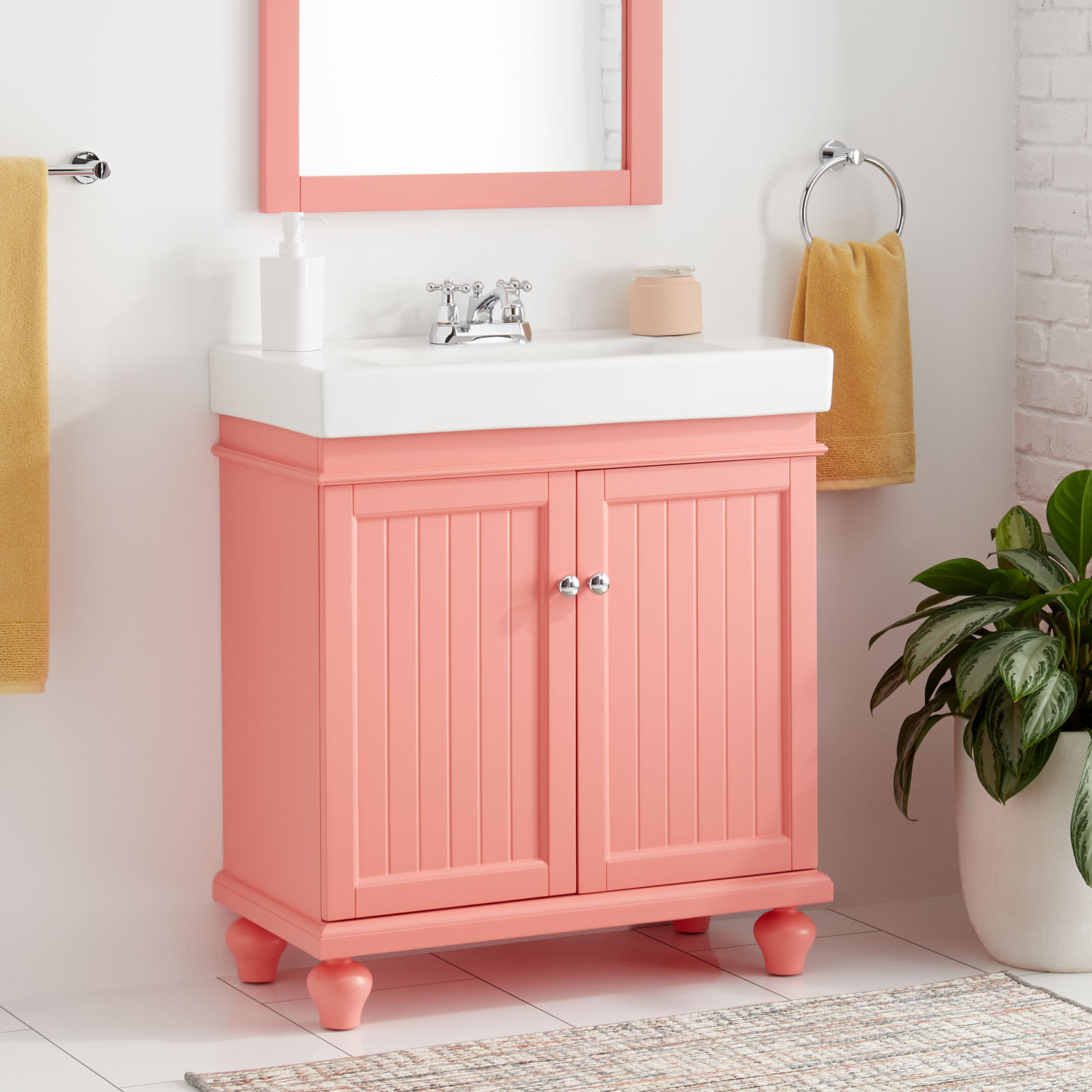 Signature Hardware 446771 Coral Lander 30 Single Vanity Set With Solid Wood Cabinet And Porcelain Vanity Top With Rectangular Integrated Porcelain Sink 4 Faucet Holes Faucet Com