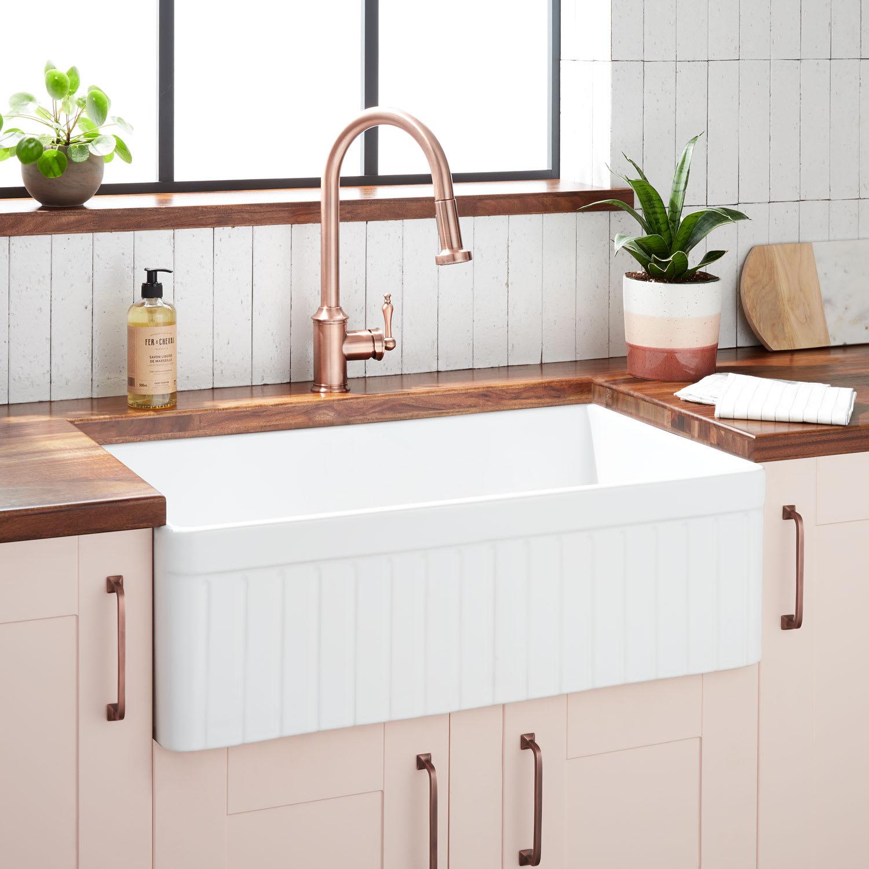 Signature Hardware 447393 White Curington 30 Farmhouse Single Basin Fireclay Kitchen Sink Faucet Com