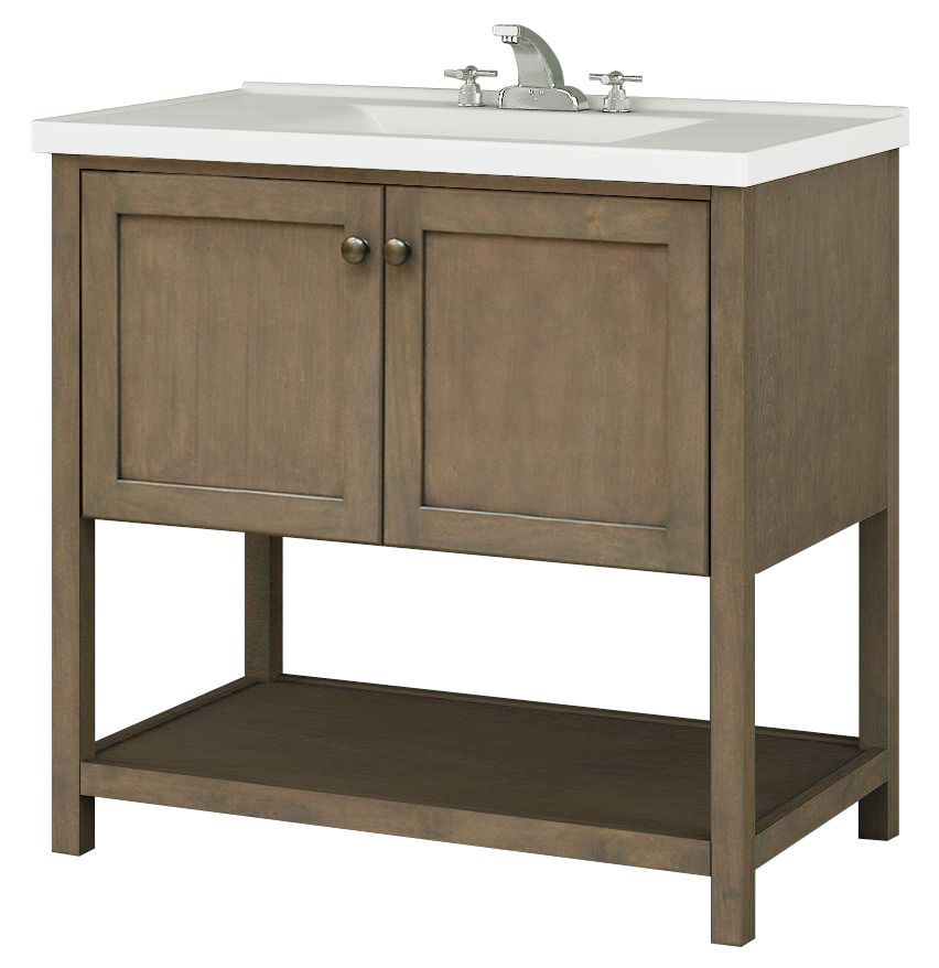Sunny Wood An3621 Taupe Aiden 36 Hardwood Vanity Cabinet Only