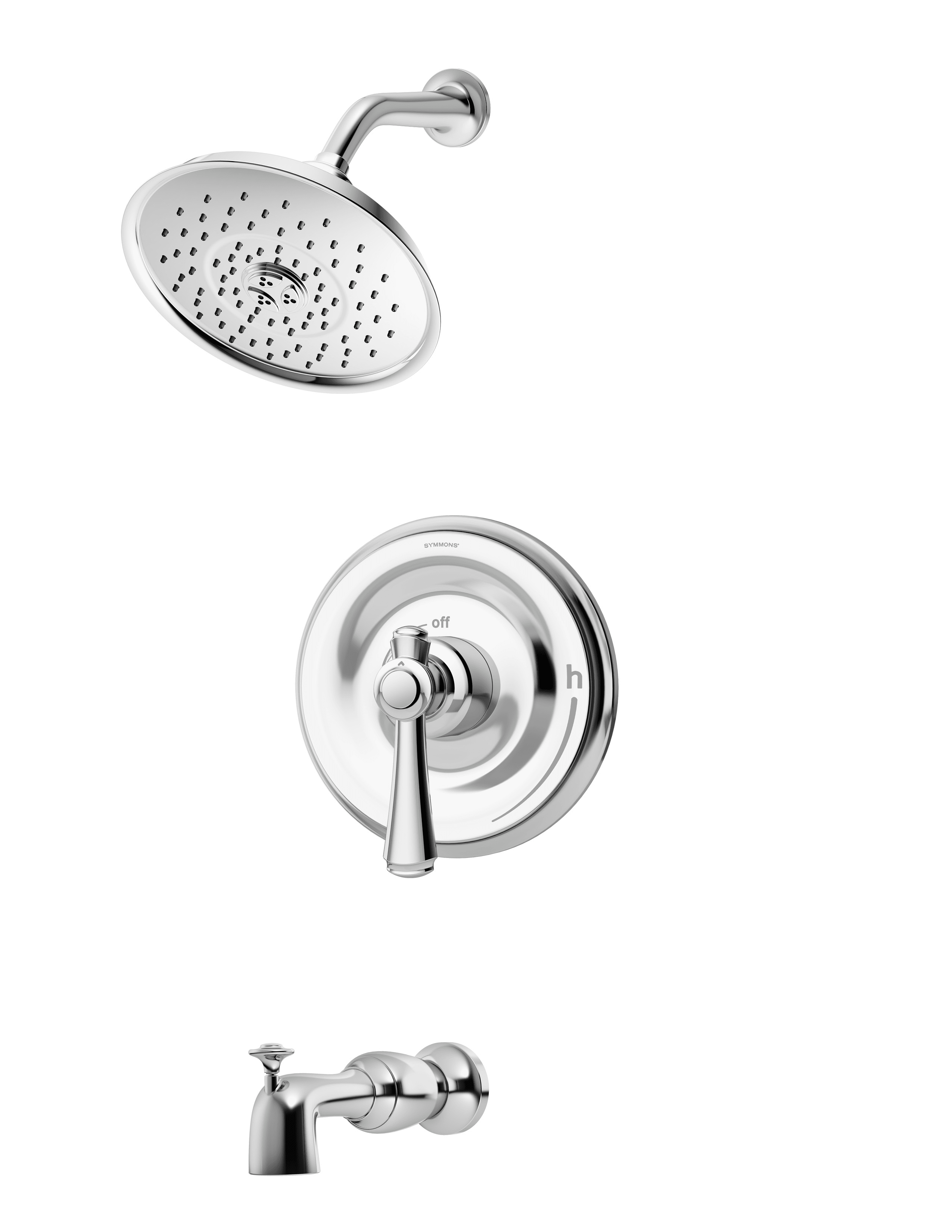 Symmons 5402 Trm Chrome Degas Tub And Shower Trim Package With Multi Function Shower Head Less Rough In Valve Faucet Com