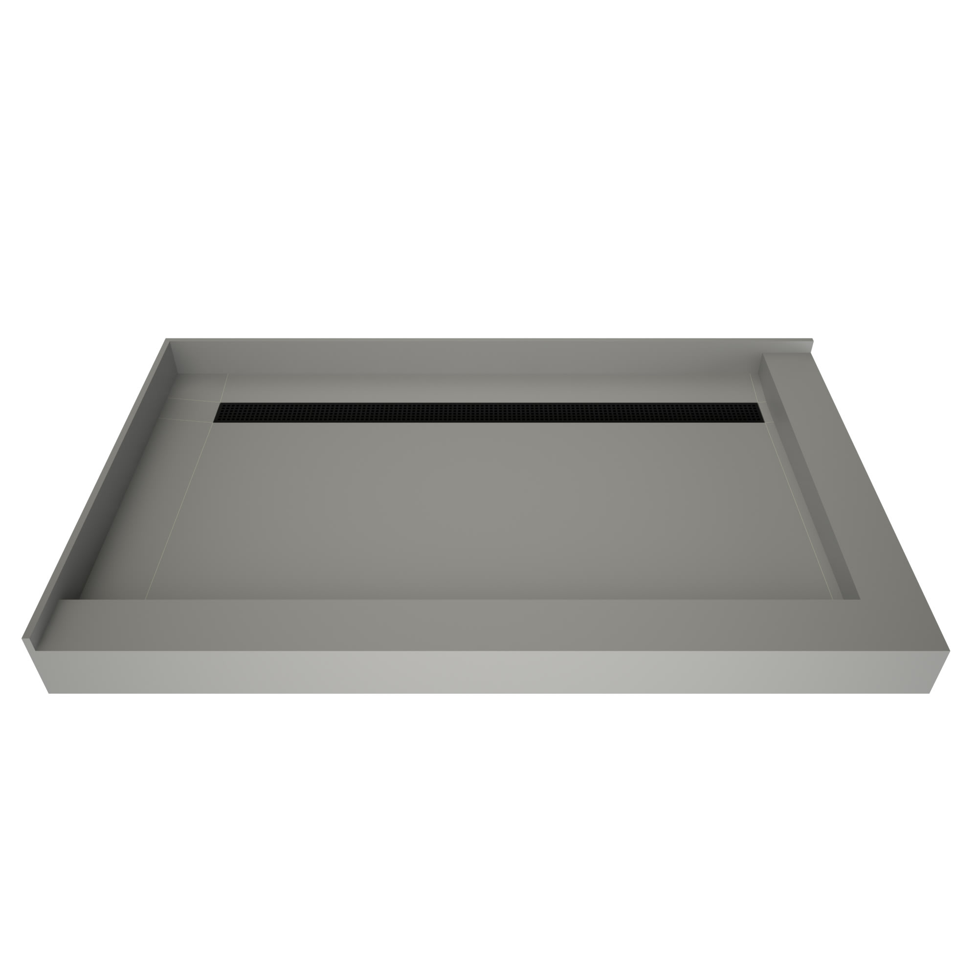 Tile Redi Rt3448bdr Pvc Mb Grey W Matte Black Drain Redi Trench 48 X 34 Rectangular Shower Base With Double Threshold And Rear Drain Faucet Com