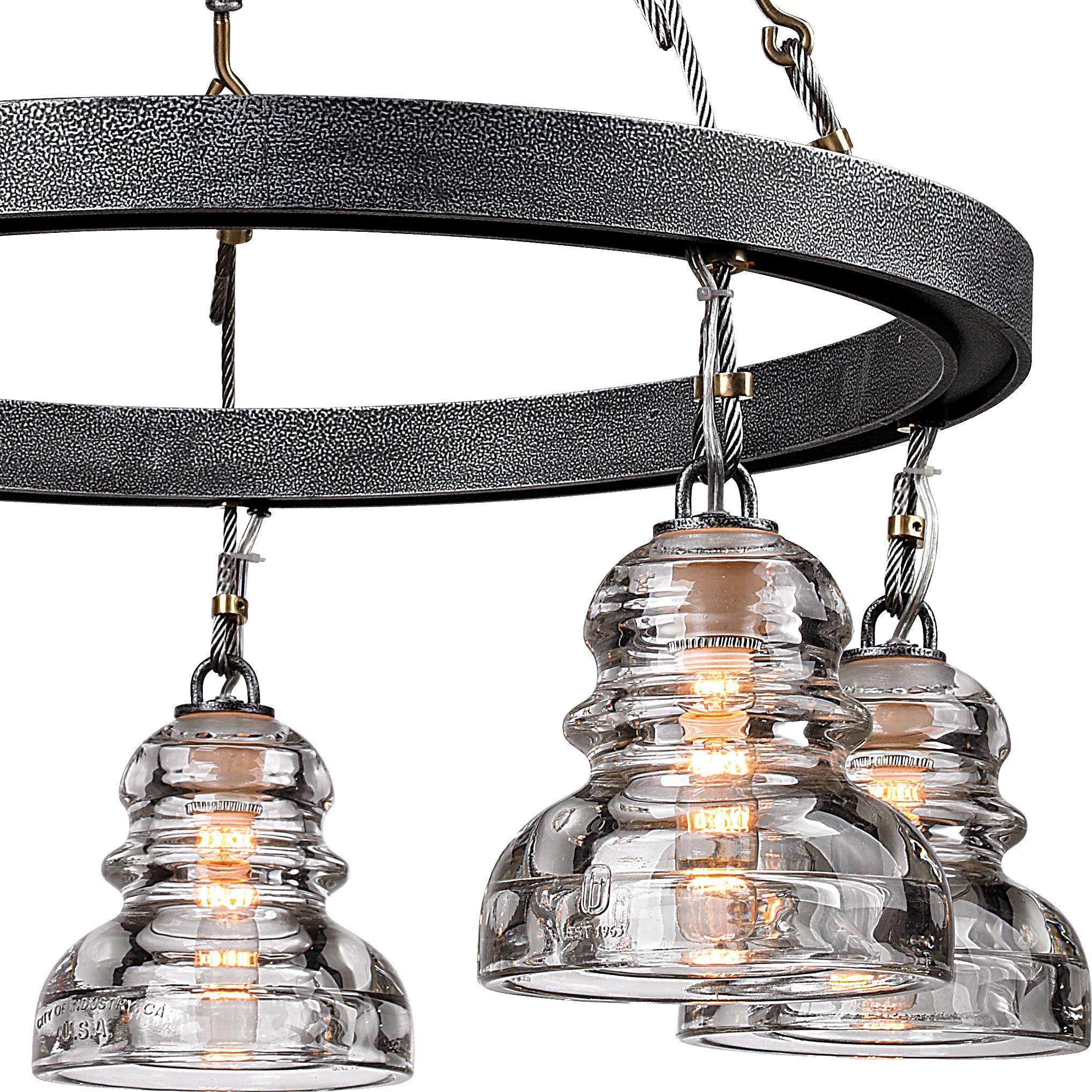 Troy Lighting F3135 Old Silver Menlo Park 5 Light Chandelier With Glass Insulator Shades Lightingdirect Com