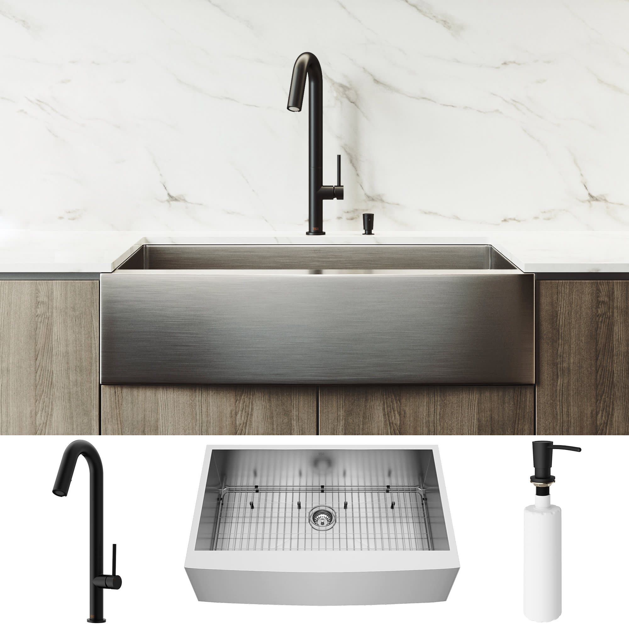 Vigo Vg15835 Matte Black Camden 36 Farmhouse Single Basin Stainless Steel Kitchen Sink With Oakhurst Matte Black Single Hole 1 8 Gpm Kitchen Faucet Soap Dispenser Basket Strainer And Cutting Board Included