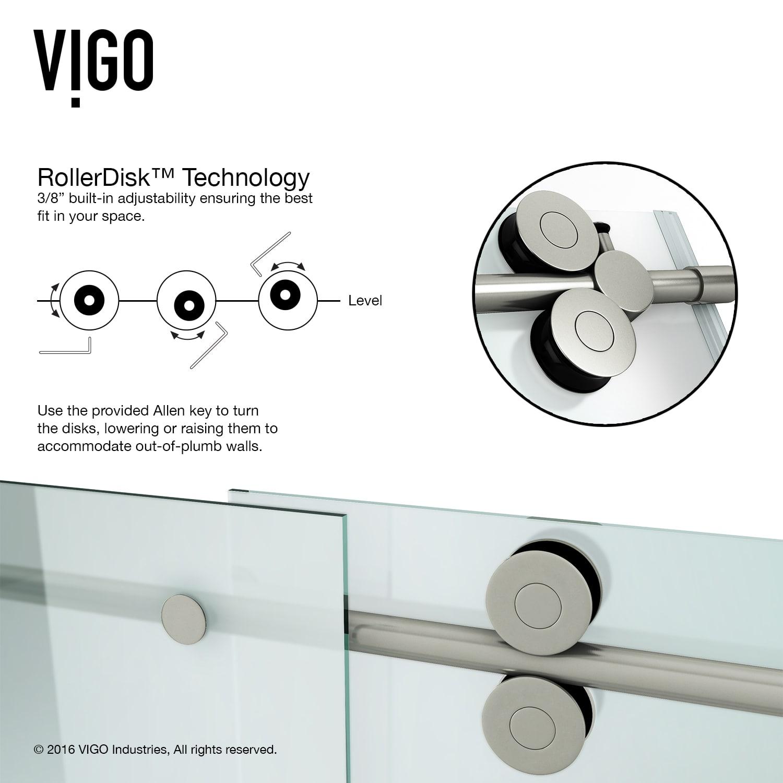 Vigo Vg6041chmt6074l Frosted Glass Chrome 60 Frameless Shower