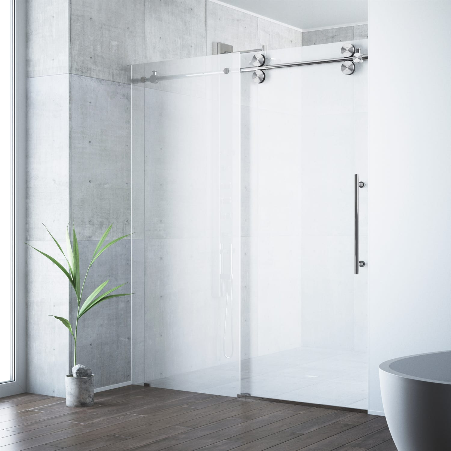 right and in base x vigo door hardware shower sliding stainless clear piece winslow glass with included frameless one dp steel enclosure