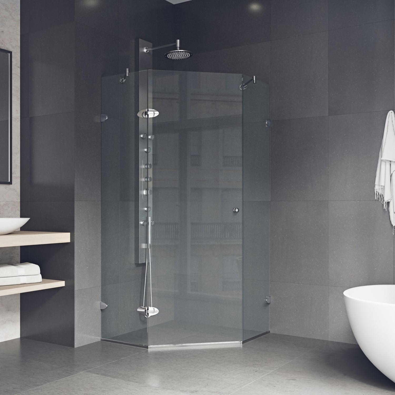 door shower with glass catching vigo eye clear of frameless