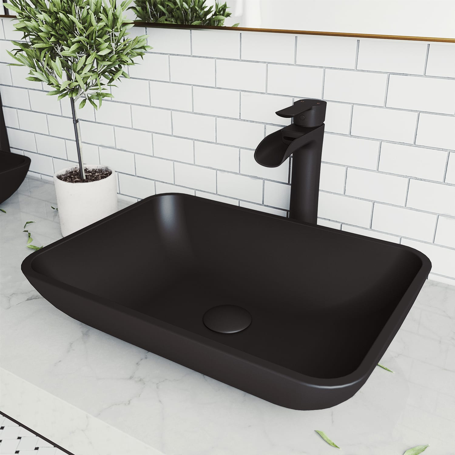 Vigo Vgt1434 Matte Black Sottile 18 Vessel Bathroom Sink With 1 2 Gpm Deck Mounted Bathroom Faucet And Pop Up Drain Assembly Faucetdirect Com