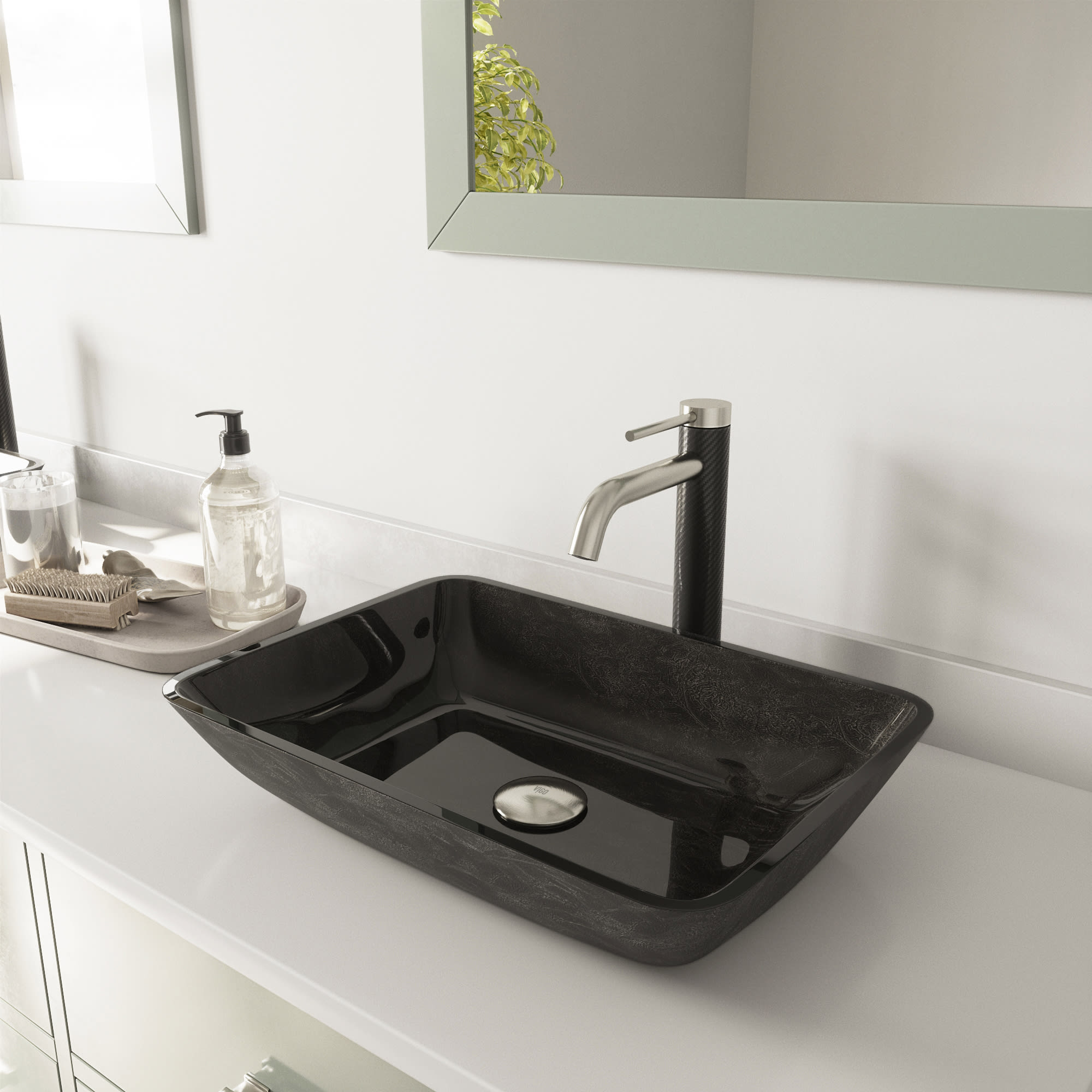 Vigo Vgt1438 Brushed Nickel Onyx 13 Vessel Bathroom Sink With 1 2 Gpm Deck Mounted Bathroom Faucet And Pop Up Drain Assembly Faucet Com