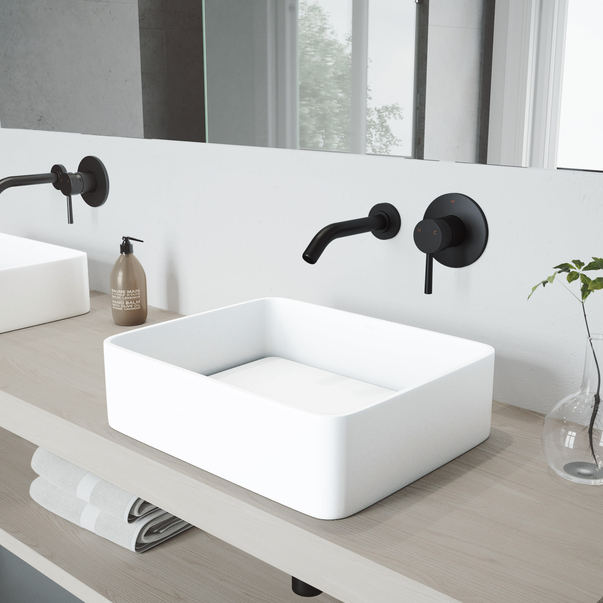 Vigo Vgt995 Matte Black Jasmine 18 1 8 Matte Stone Vessel Bathroom Sink With Olus Matte Black 1 2 Gpm Wall Mounted Bathroom Faucet And Pop Up Drain Assembly Faucetdirect Com