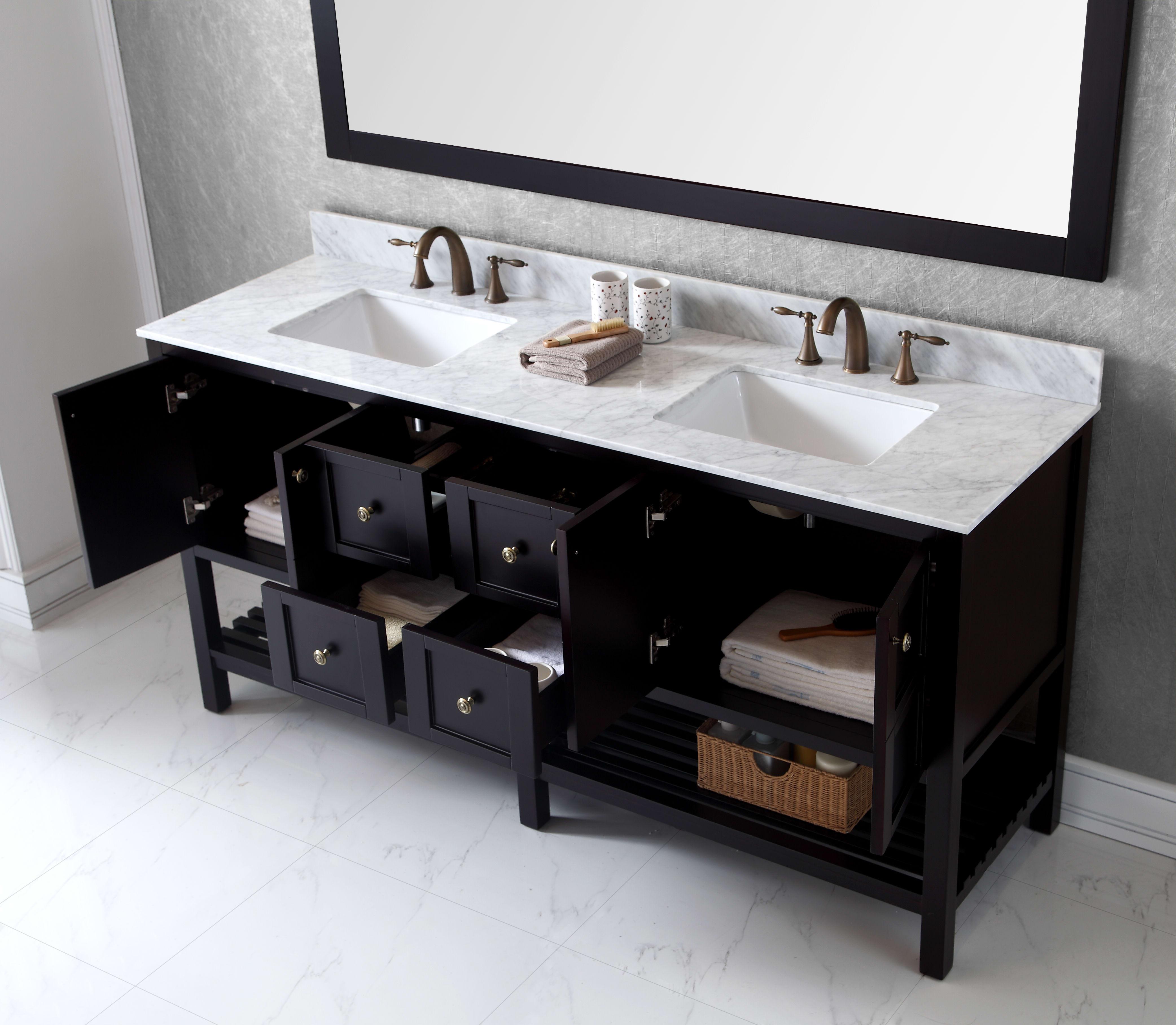 Virtu Usa Ed 30072 Wmsq Es Espresso Rectangular Sink Winterfell 72 Free Standing Vanity Set With Oak Cabinet Marble Top 2 Undermount Sinks And 1 Mirror