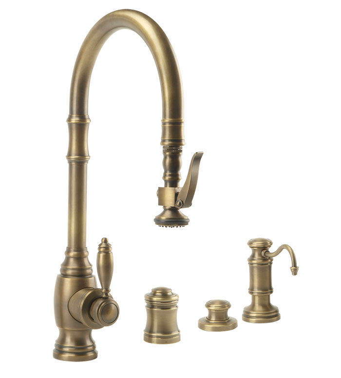Waterstone 5600 4 TB Tuscan Brass Traditional Pull Out Spray Kitchen Faucet  With Soap Dispenser, Air Gap And Air Switch   Faucet.com