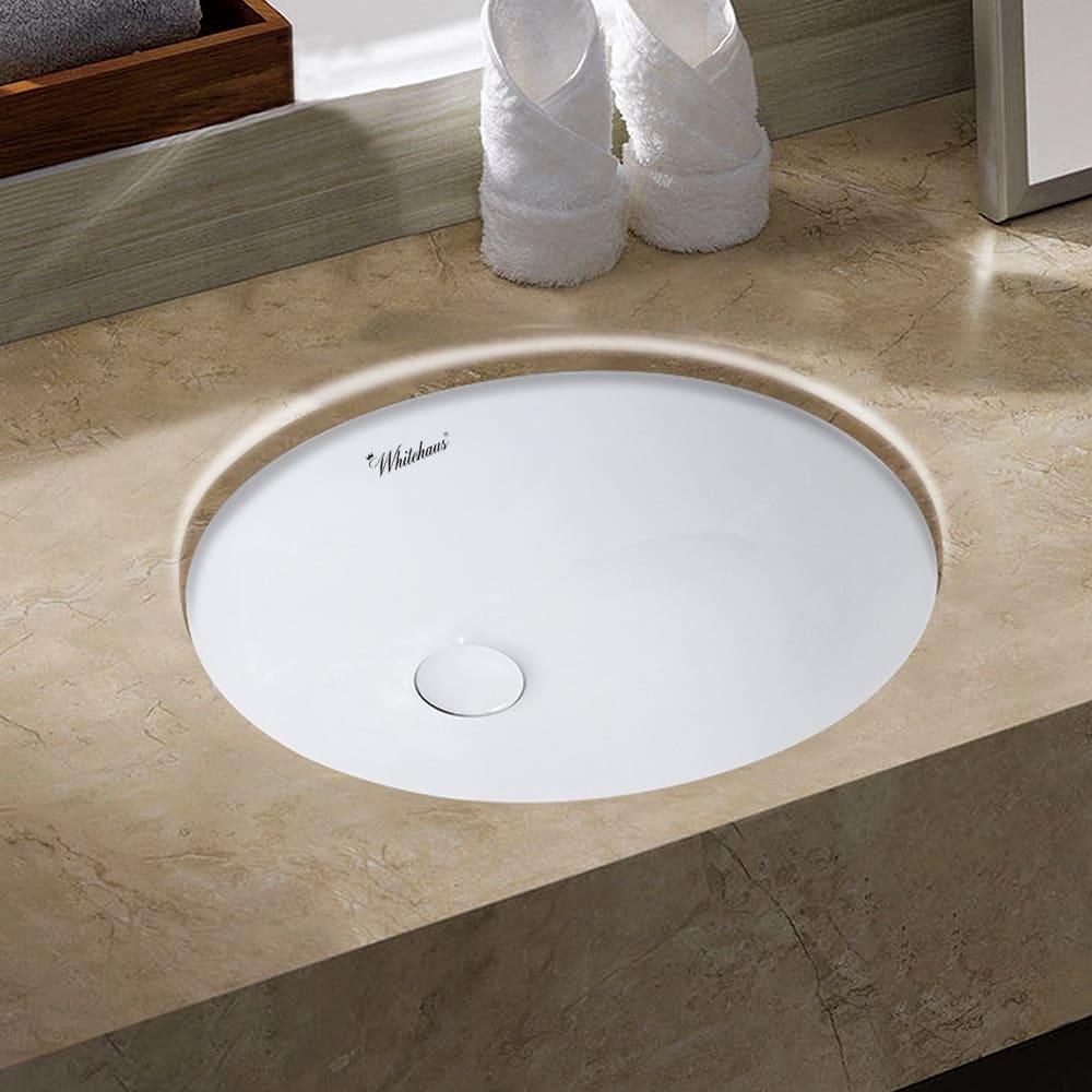 Whitehaus Whu71001 White Isabella Plus 16 1 2 Vitreous China Undermount Bathroom Sink Faucet Com