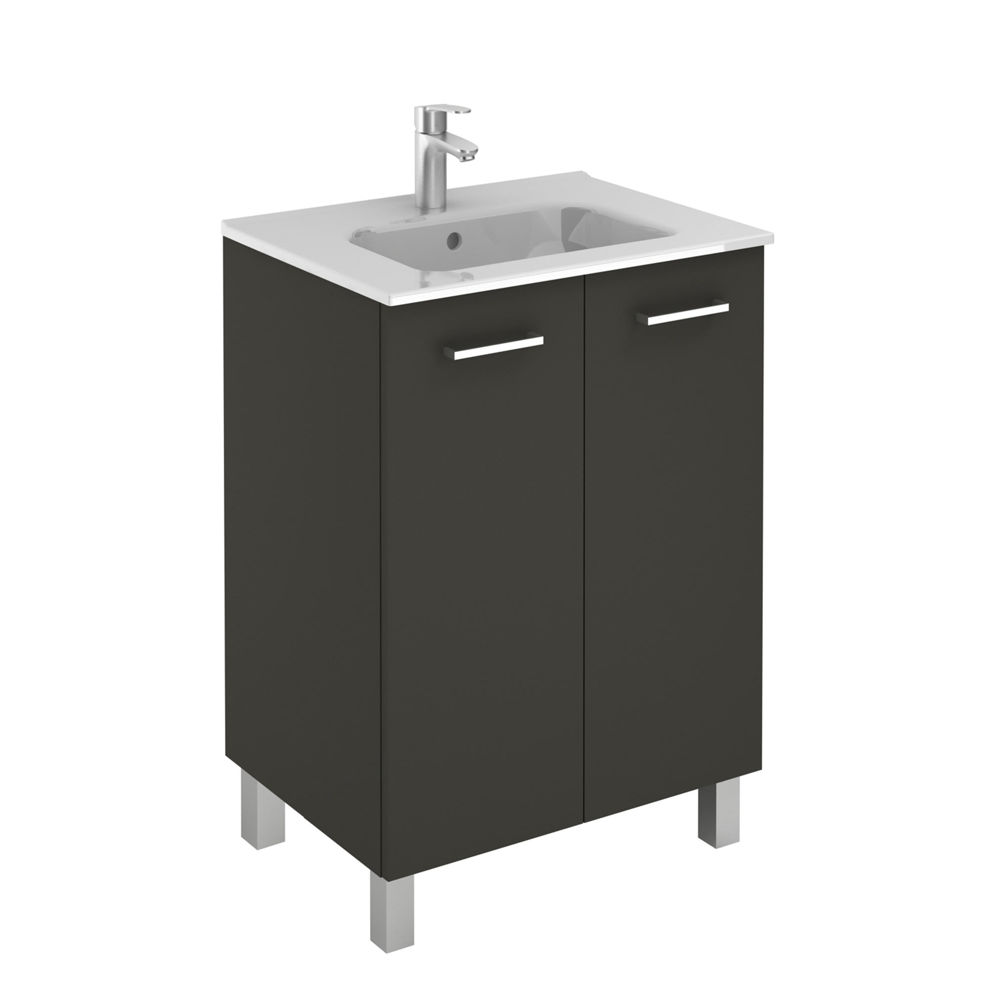 Ws Bath Collections Logic 60 An Anthracite Logic Vanities 18 Free Standing Single Basin Vanity Set With Ceramic Vanity Top Faucetdirect Com