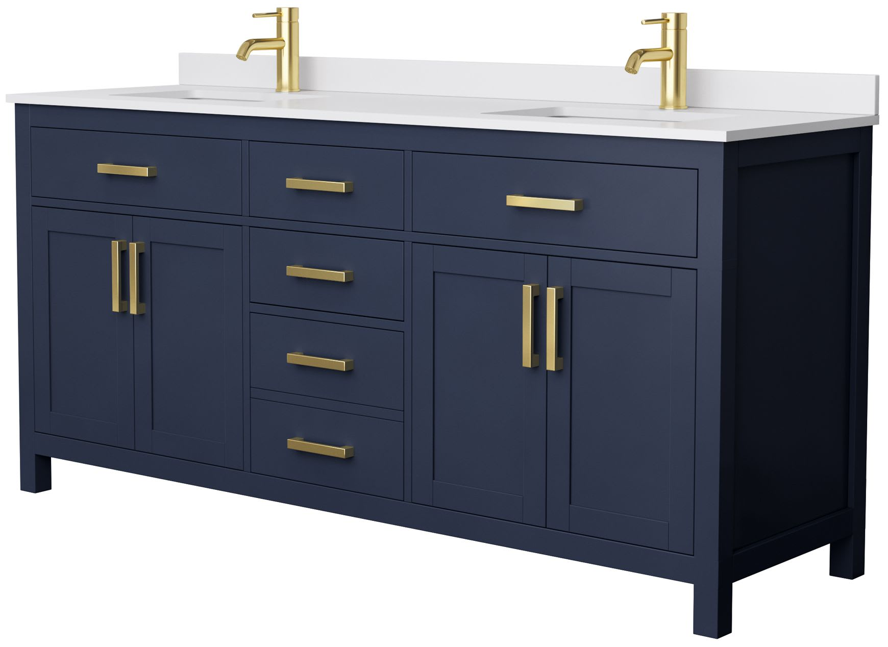 Wyndham Collection Wcg242472dblccunsmxx Dark Blue Carrara Top Beckett 72 Inch Double Bathroom Vanity With Cultured Marble Countertop Undermount Square Sinks No Mirrors Faucet Com