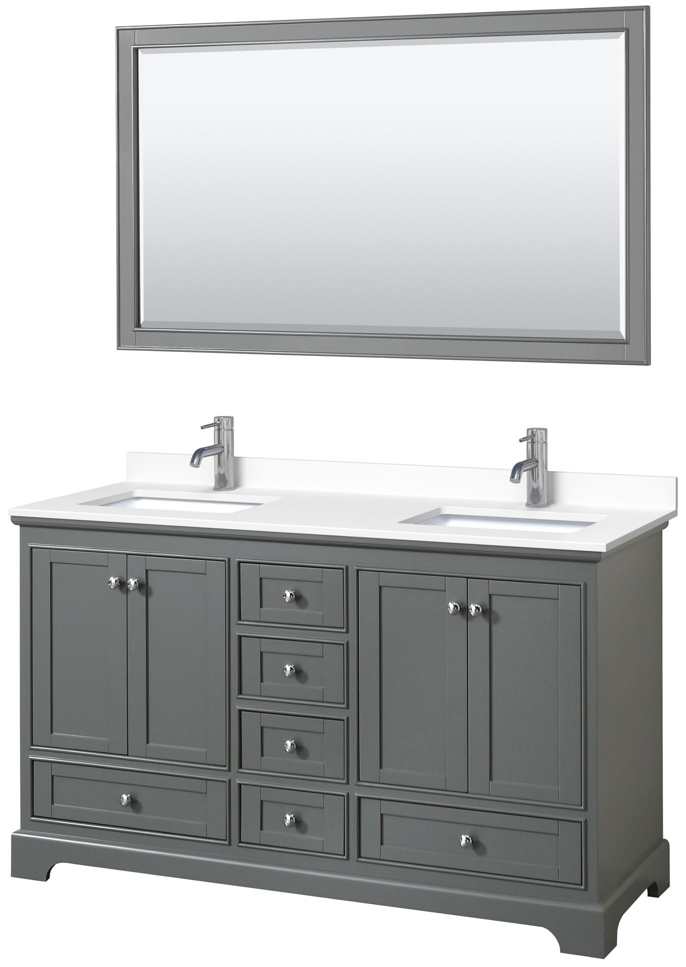 Wyndham Collection Wcs202060dkgc2unsm58 Dark Gray Light Vein Carrara Top Deborah 60 Inch Double Bathroom Vanity With Cultured Marble Countertop Undermount Square Sinks 58 Inch Mirror Faucet Com