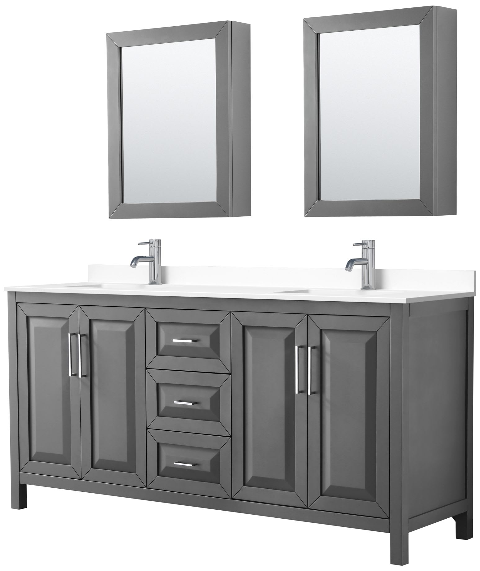 Wyndham Collection Wcv252572dkgwcunsmed Dark Gray White Top Daria 72 Free Standing Double Basin Vanity Set With Cultured Marble Vanity Top And Framed Mirror Faucetdirect Com