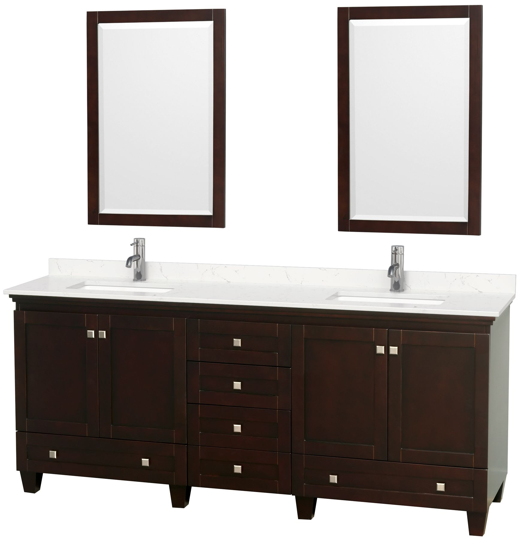 Wyndham Collection Wcv800080desc2unsm24 Espresso Light Vein Carrara Top Acclaim 80 Inch Double Bathroom Vanity With Cultured Marble Countertop Undermount Square Sinks 24 Inch Mirrors Faucet Com