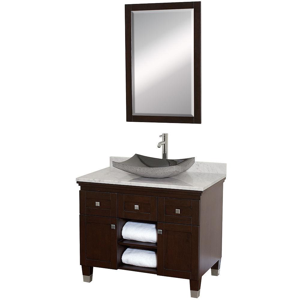 Carrera Top 36 Premiere Floor Standing Modern Vanity Set Includes Cabinet Marble And Backsplash Ceramic Or Gl Stone Vessel Sink
