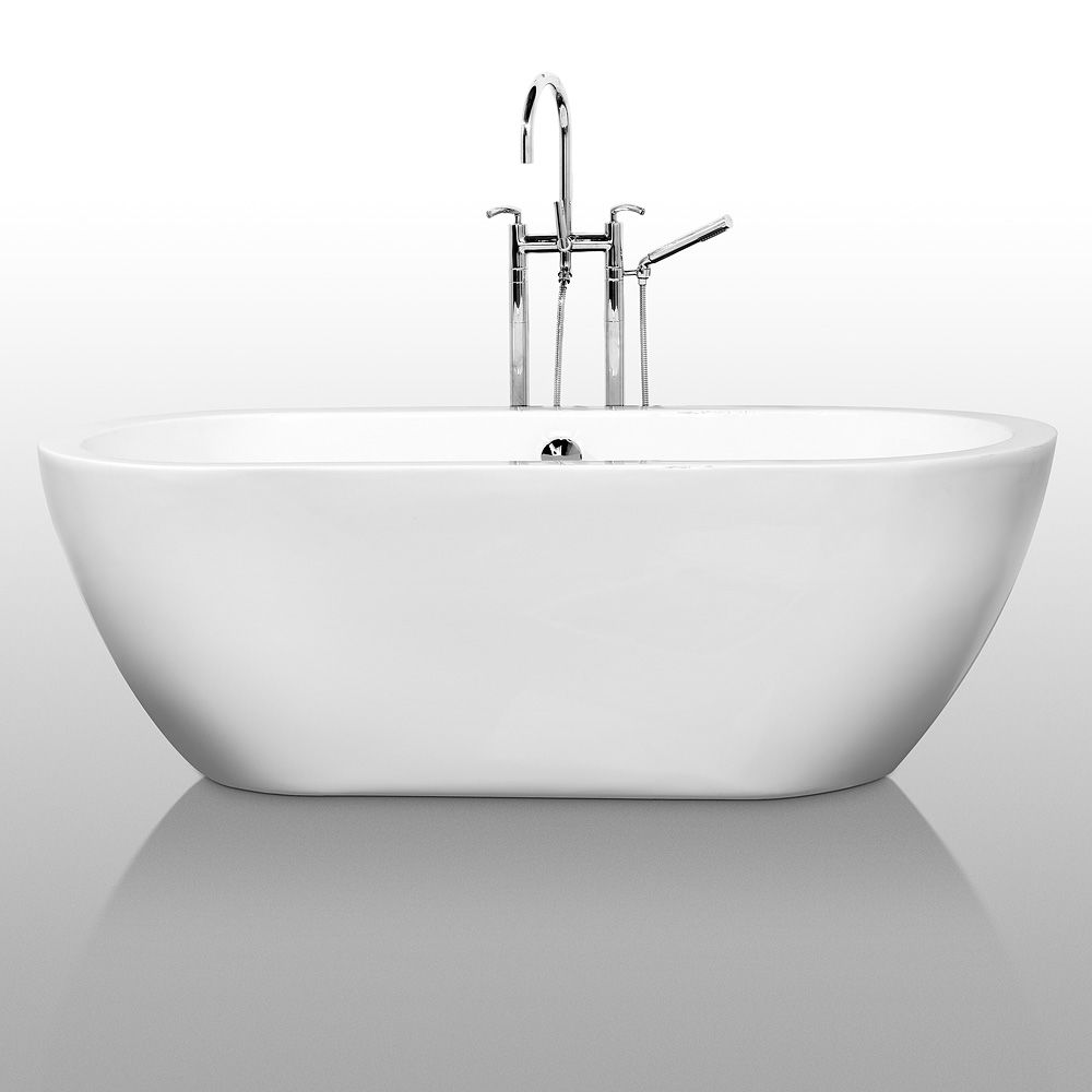 Wyndham Collection WCOBT100268BNTRIM White Brushed Nickel Trim Soho 68 Free Standing Acrylic Soaking Tub With Center Drain Pop Up Assembly