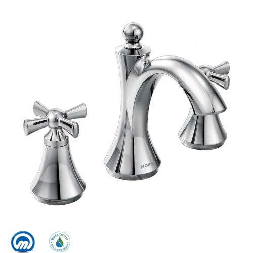 Moen T4524 Wynford Double Handle Widespread Bathroom Faucet Less