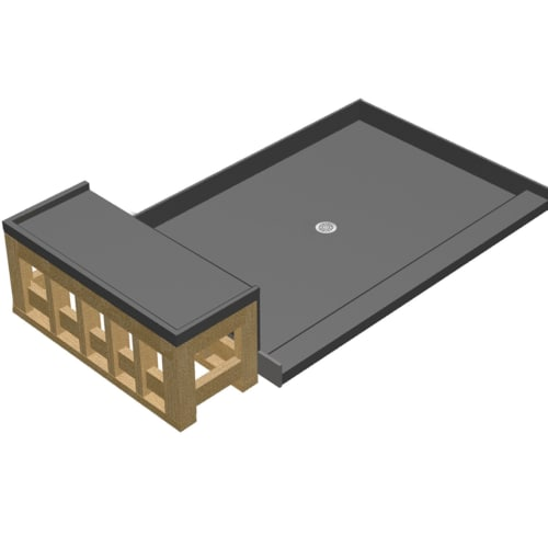 Tile Redi 4260c Rb42 Kit Basen Bench 72 X 42 Three Wall Alcove