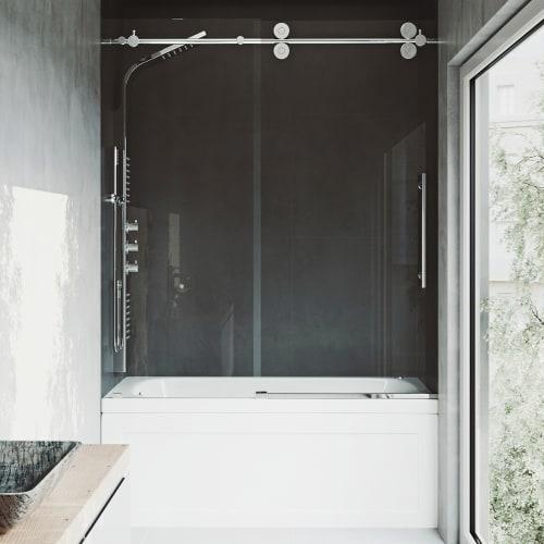 Vigo Vg60416066 Elan 66 High X 60 Wide Sliding Frameless Tub Door With 3 8 Gl