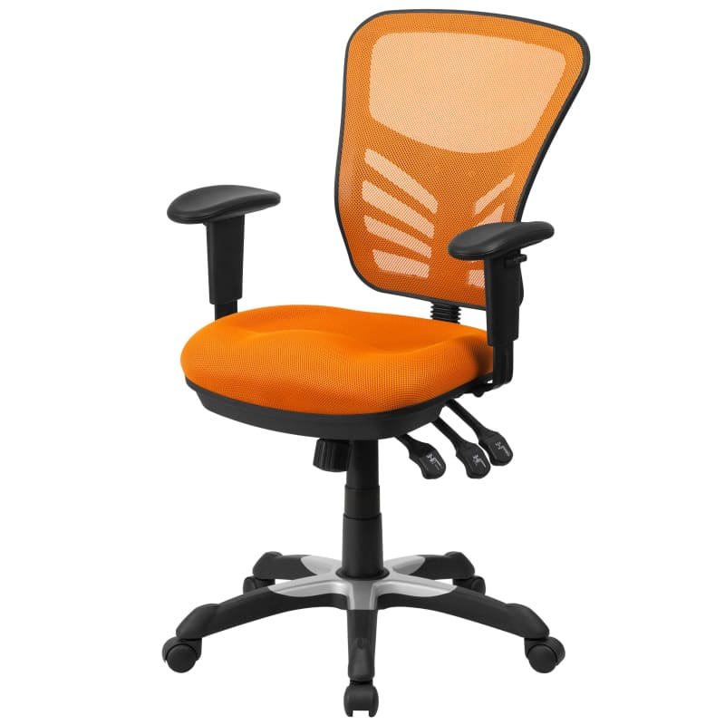 Delacora FF-HL-0001 25.75 Inch Wide Fabric Executive Swivel Chair with Adjustabl Orange Indoor Furniture Chairs Office