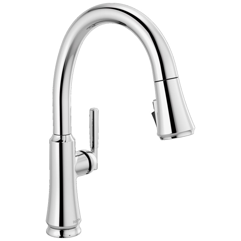 Coranto 1.8 GPM Single Hole Pull Down Kitchen Faucet with Magnetic Docking Spray Head and ShieldSpray Chrome Faucet Kitchen Single - Delta 9179-DST