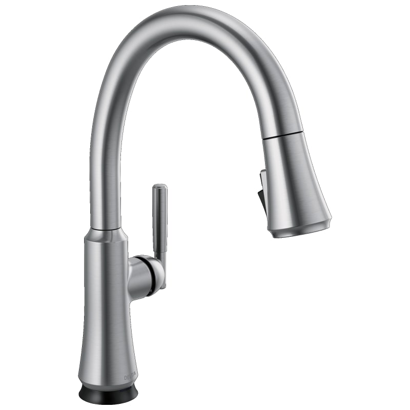 Delta 9179T-DST Coranto 1.8 GPM Single Hole Pull Down Kitchen Faucet with On/Off Touch Activation Magnetic Docking Spray Head and ShieldSpray Arctic -  9179T-AR-DST