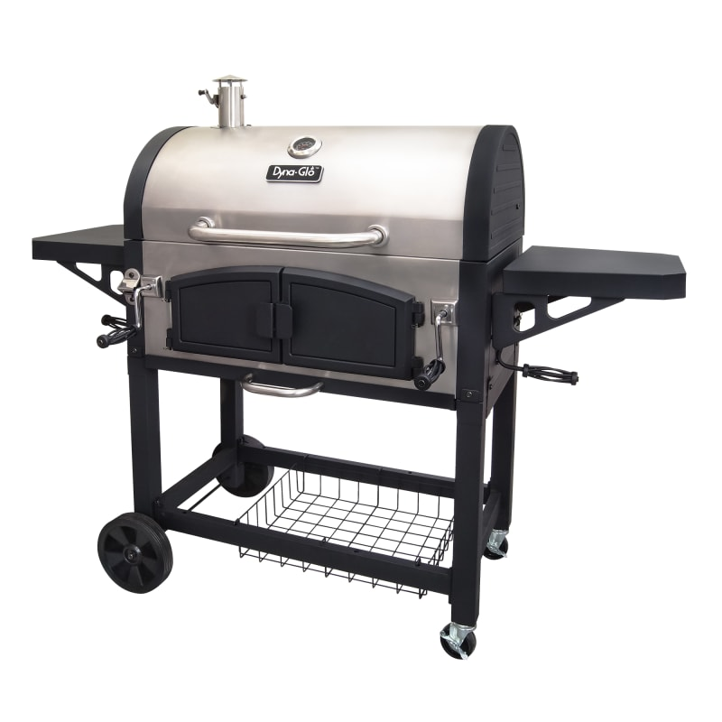 Dyna-Glo DGN576SNC-D Dual Chamber Charcoal BBQ Grill with Adjustable Charcoal Tr Stainless Steel Outdoor BBQ Grill Freestanding