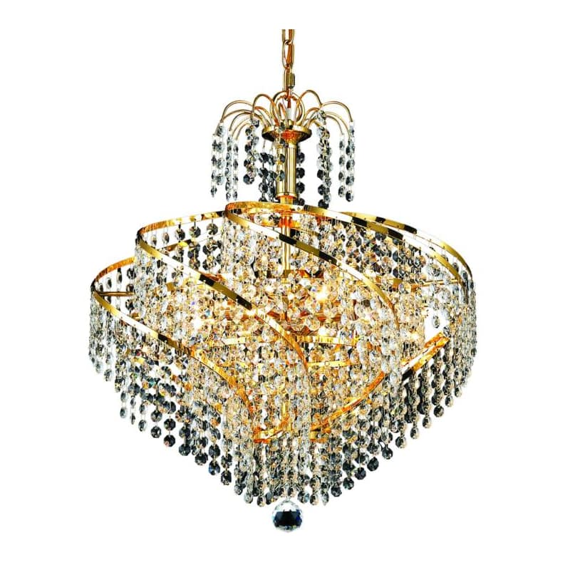 UPC 842814129702 product image for Elegant Lighting 8052D18G Spiral 8-Light, Single-Tier Crystal Chandelier, Finish | upcitemdb.com