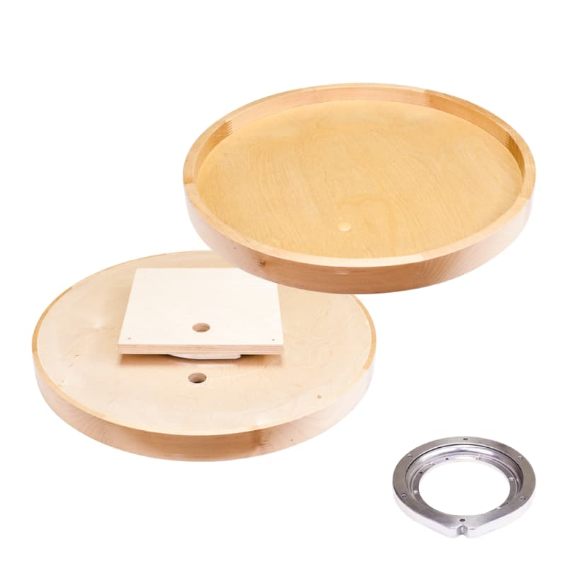 24 Inch Round Shape Lazy Susan Shelf with Finger-jointed Rim and Center Hole Maple Kitchen Organizers Accessories and Parts - Hardware Resources LSR24