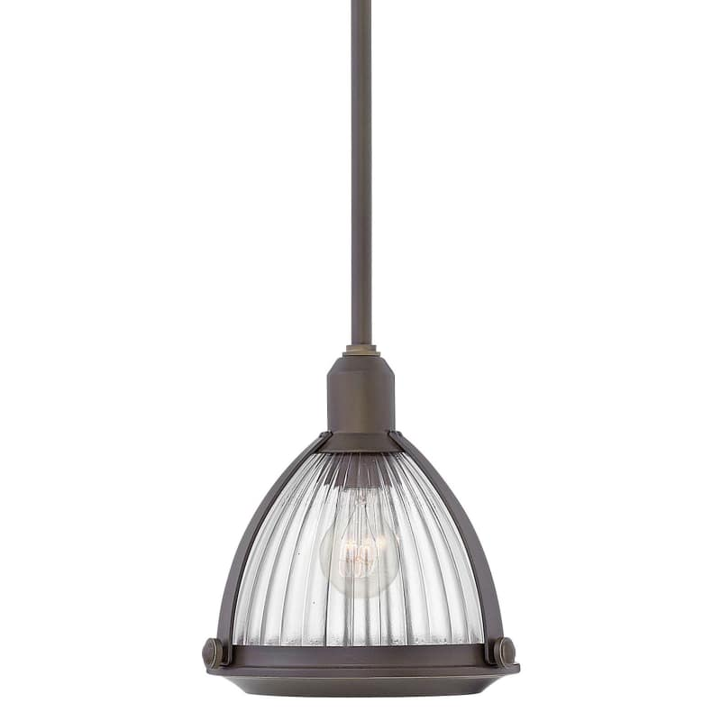 "Hinkley Lighting 3097 Elroy Single Light 10"""" Wide Pendant with Holophane Glass S -  3097OB"