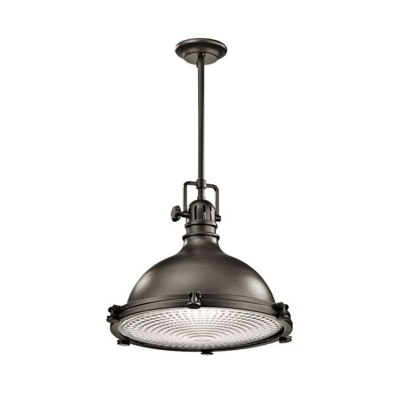 """Kichler 2691 Hatteras Bay Pendant Light With Metal Shade 24"""" Wide"""