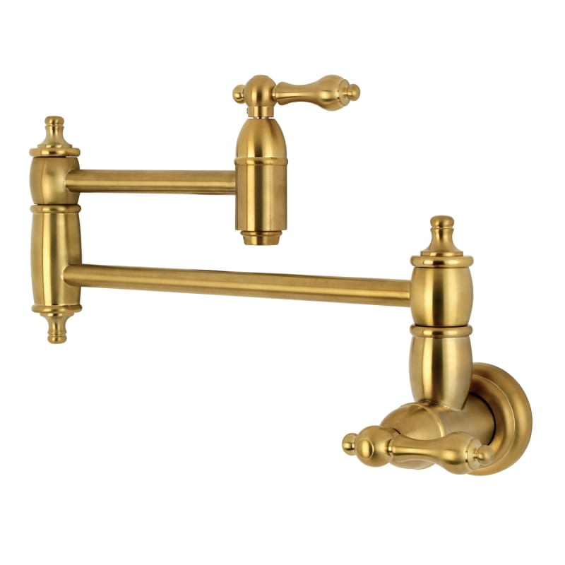 Kingston Brass KS310.AL Restoration 1.8 GPM Wall Mounted Double Handle Kitchen P Brushed Brass Faucet Pot Filler Double Handle
