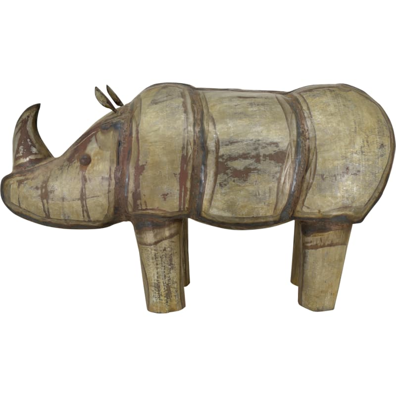 Moes Home Collection YZ-1002-01 Rhinoceros Iron Statue