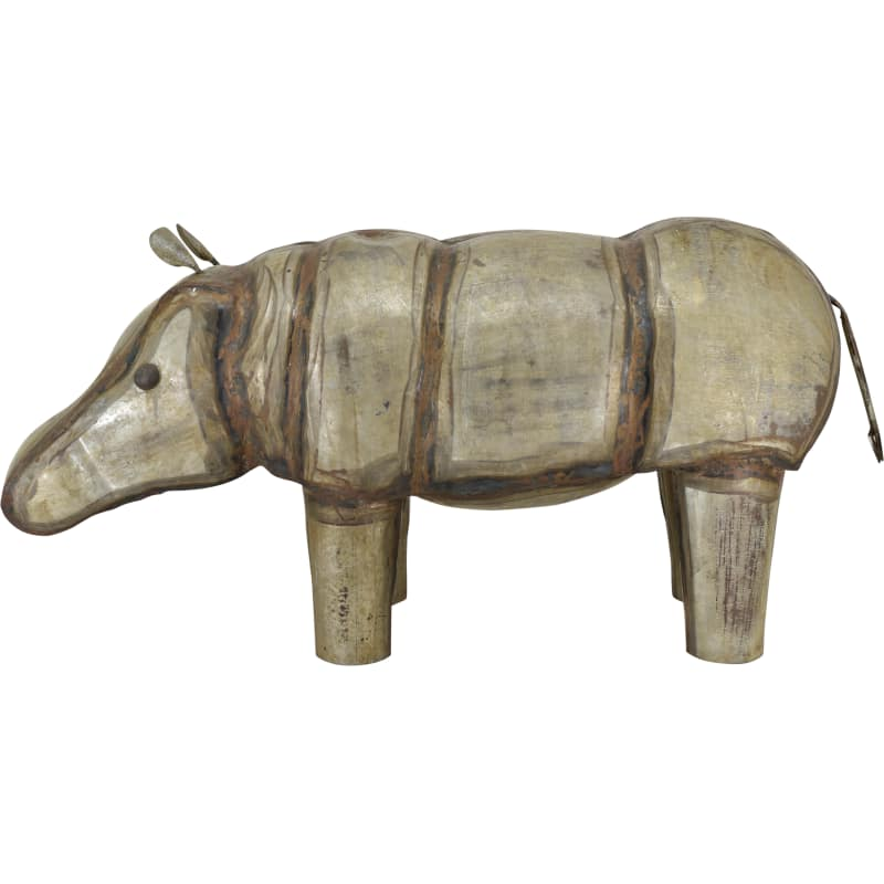 Moes Home Collection YZ-1003-01 Hippopotamus Iron Statue