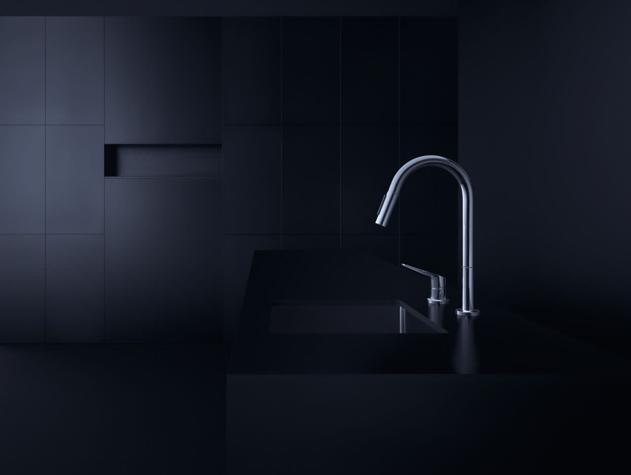 Schon Single-Handle Pull-Down Sprayer Kitchen Faucet with LED Light in Stainless Steel 67646-0008D2
