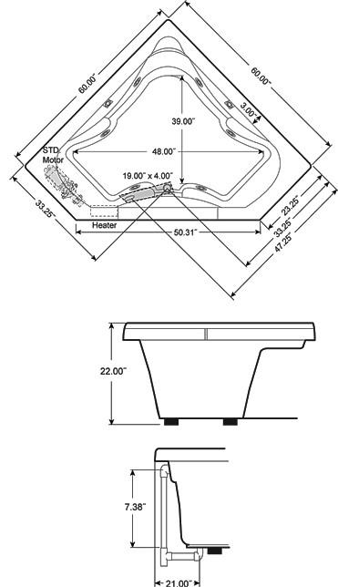 Jacuzzi J5d6060 Wcl 1xx 60 X 60 Signature Corner Whirlpool Bathtub
