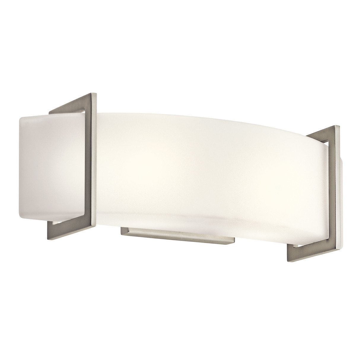 Details about kichler 45218ni crescent view 18 wide 2 bulb bathroom lighting fixture