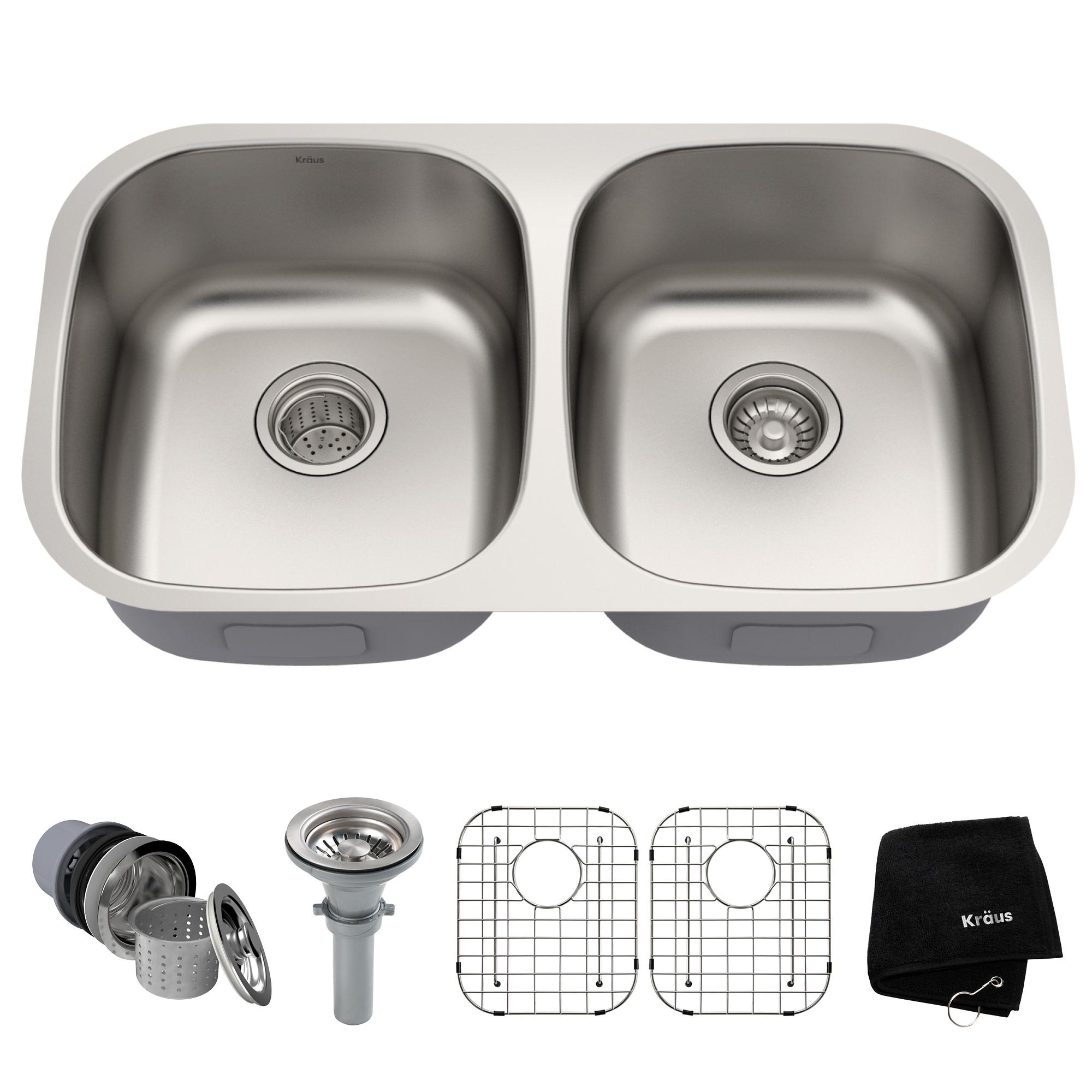"""Kraus KBU22 32-1/4"""" Double Basin 16 Gauge Stainless Steel Kitchen Sink for Under"""