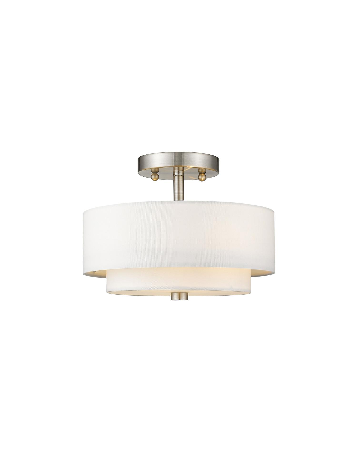 Livex Lighting 51042 Nickel Claremont 2-Light Semi Flush Cei