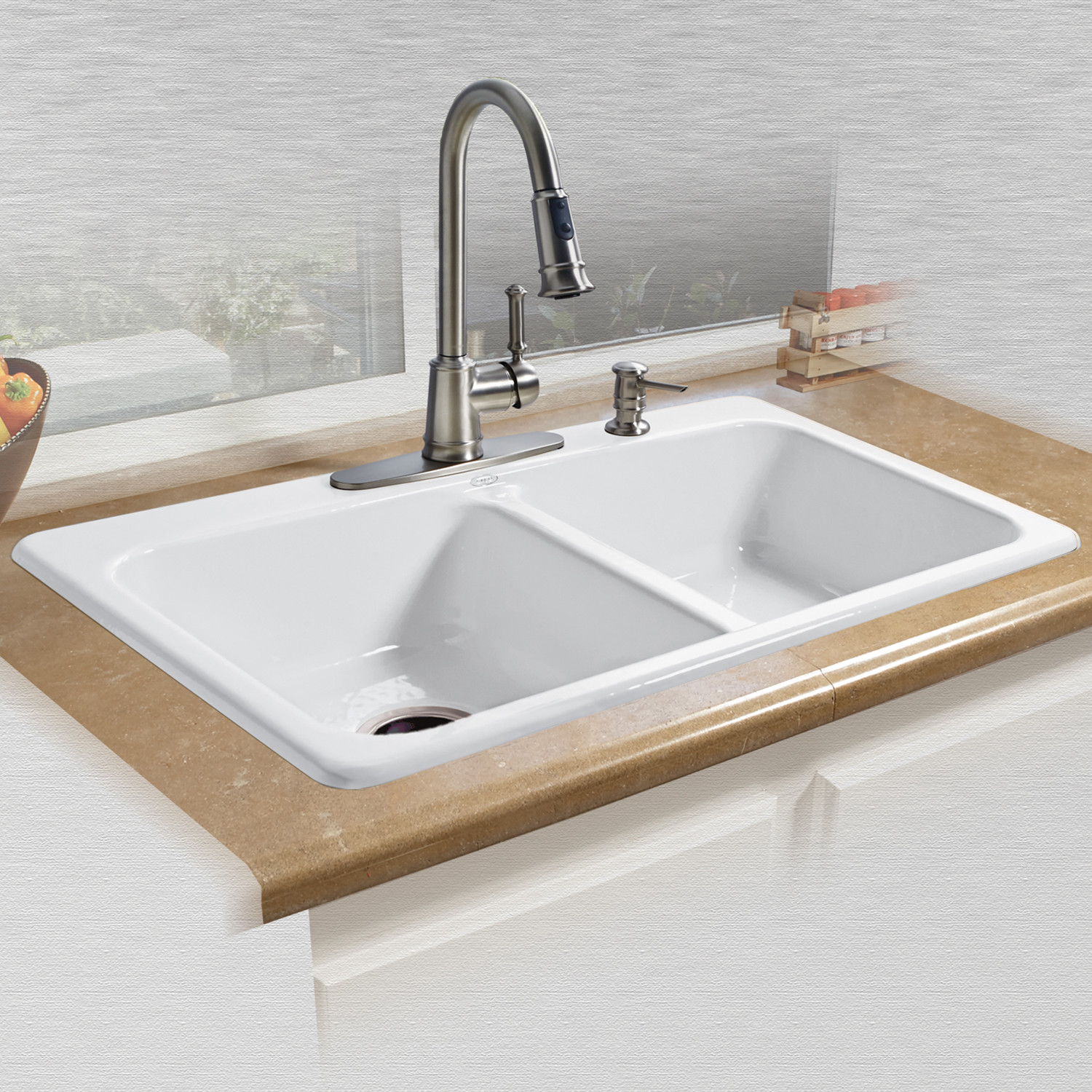 Miseno Mci25 4tm 33 Double Basin Drop In Cast Iron Kitchen Sink