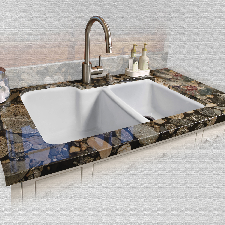 Details About Miseno Mci35 0um 20 33 Double Basin Undermount Cast Iron Kitchen Sink White