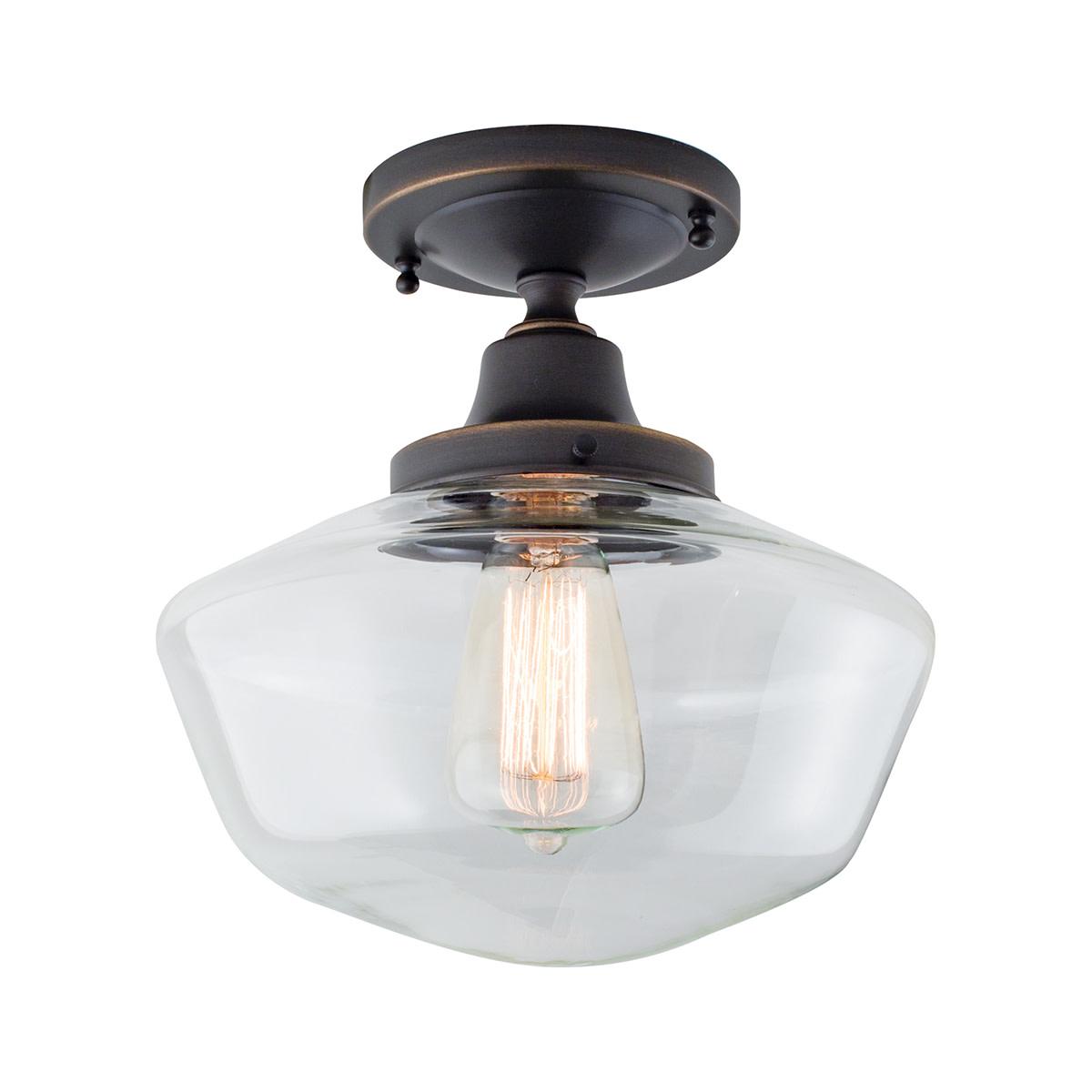 Details About Norwell Lighting 5361f Cl Schoolhouse 1 Light 10 W Semi Flu Bronze