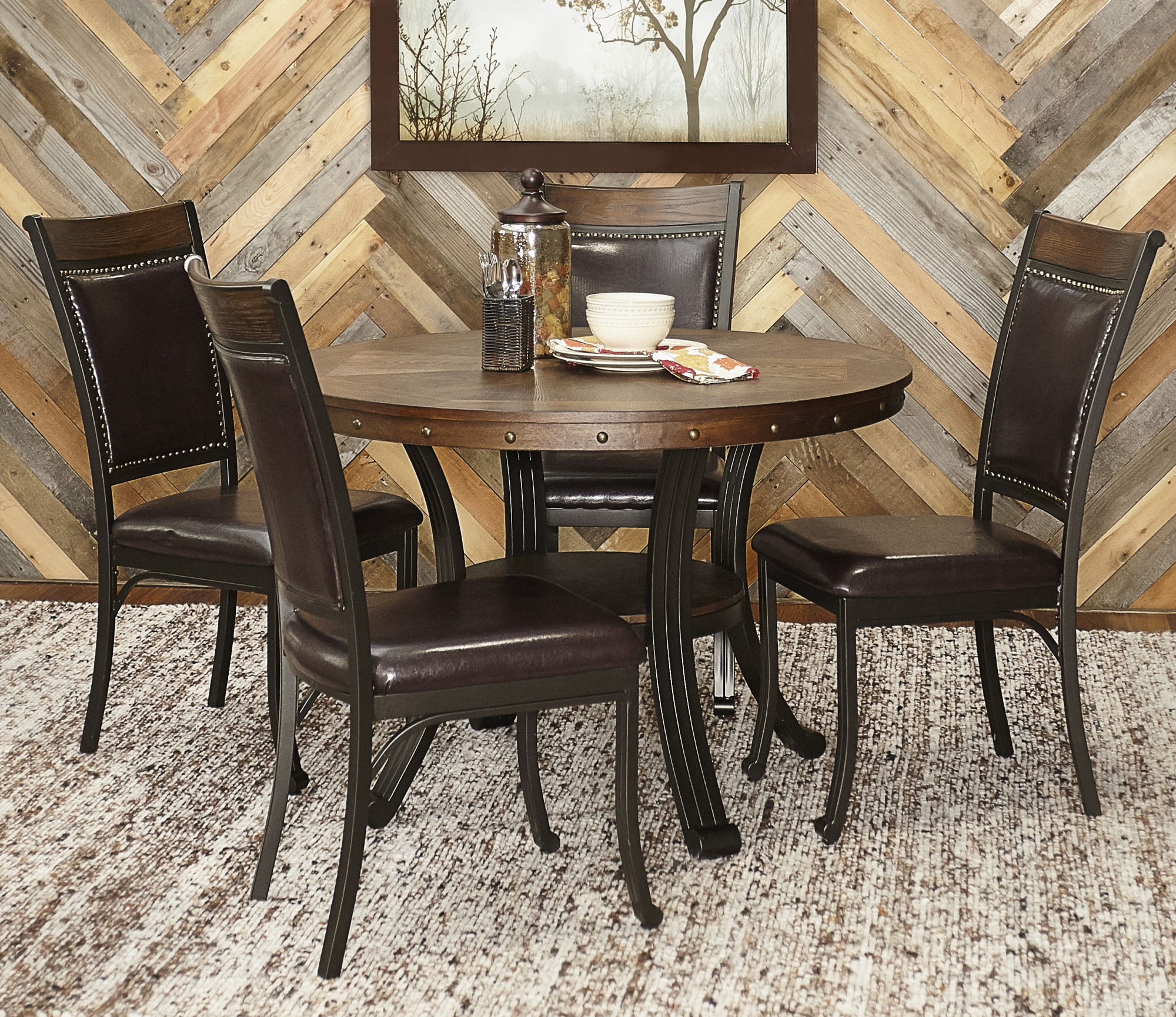 Details about powell home fashions 15d2020 franklin five piece metal framed dining set