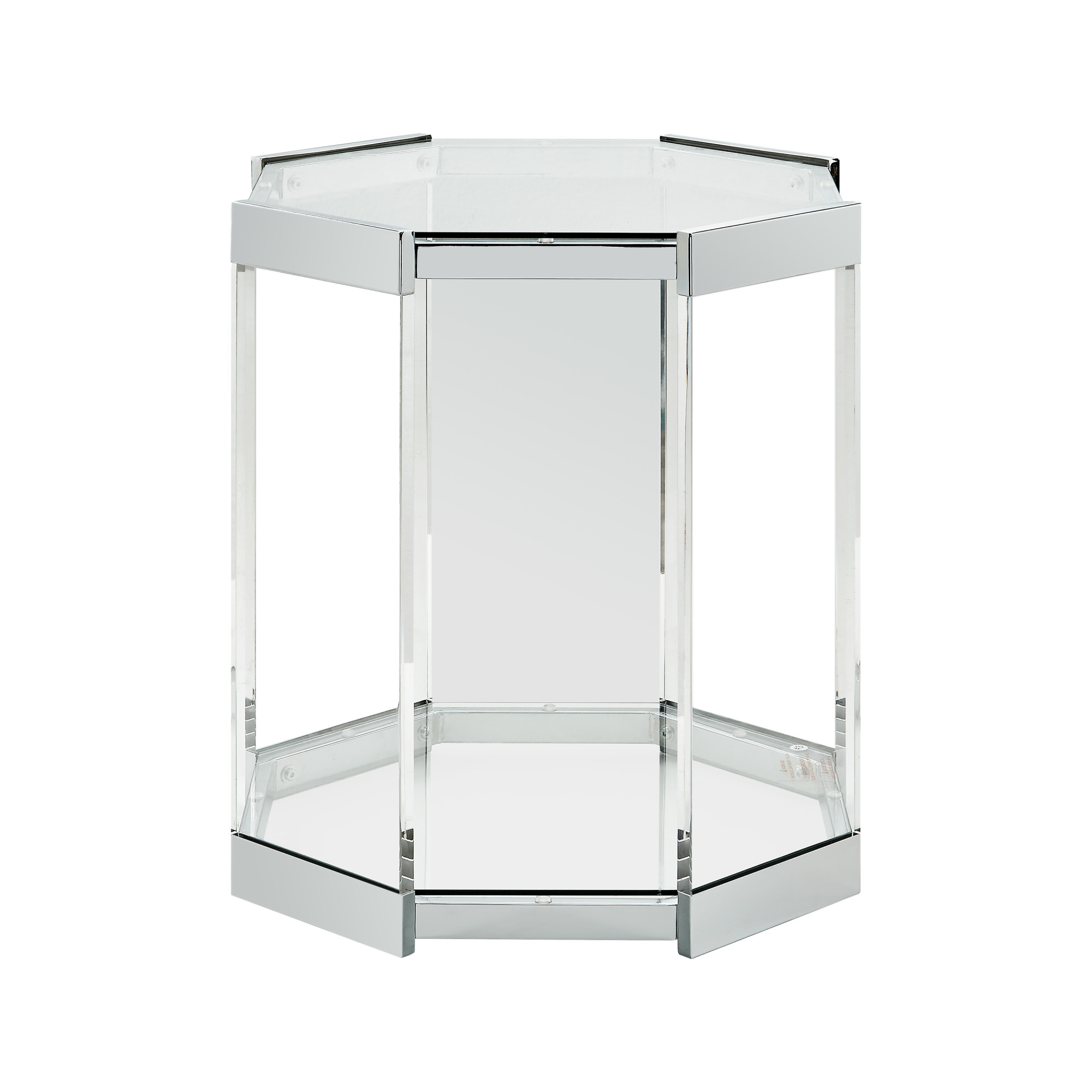"powell home fashions d1055a17st chrome brahm - 20""w glass top metal accent table"