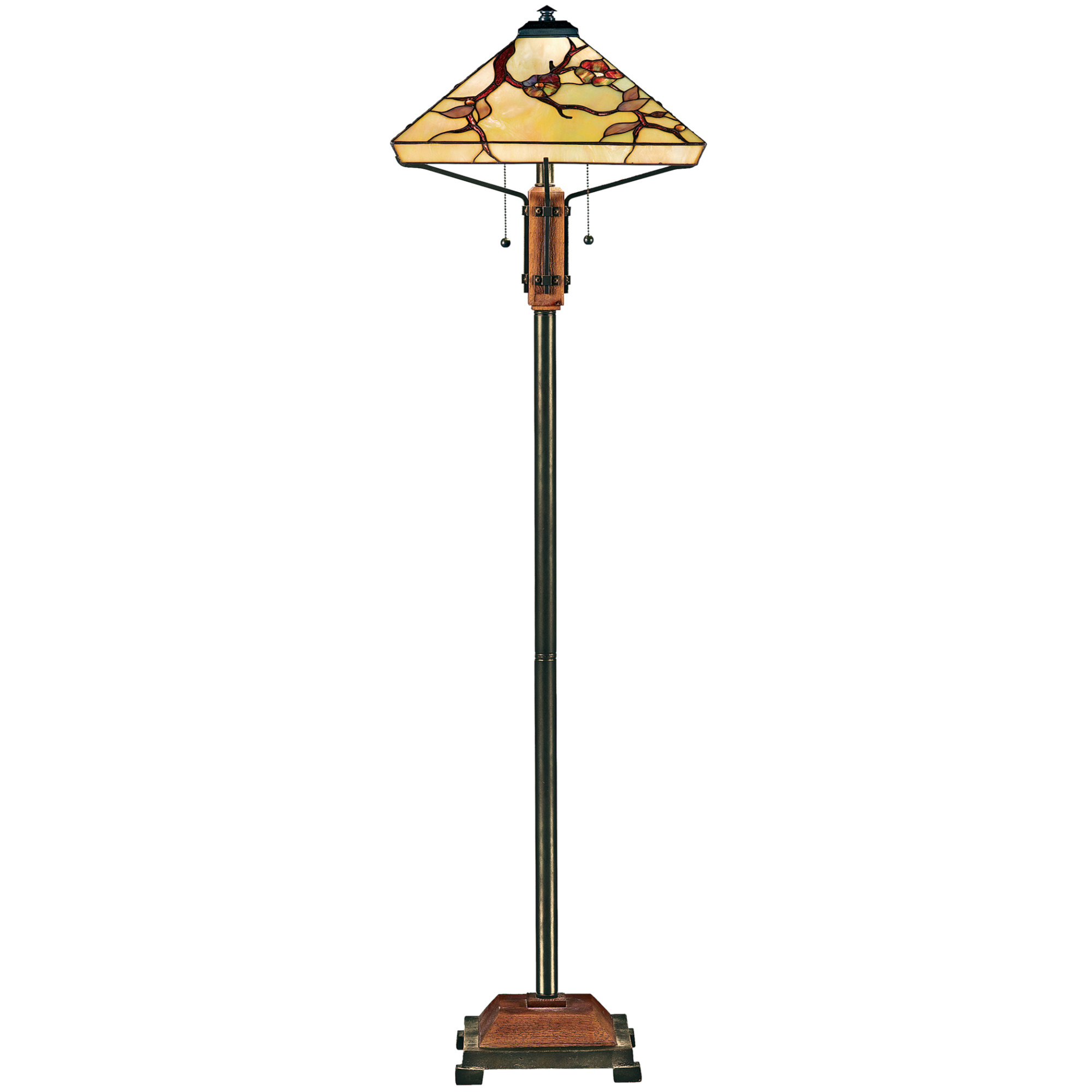 Details About Quoizel Tf9404 Tiffany 2 Light 60 Tall Floor Lamp Brass