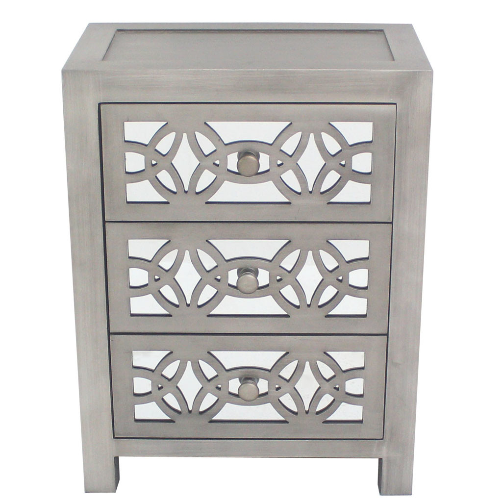 Details About River Of Goods 1571ns Glam Slam 19 1 2 Wide 3 Drawer Wood Nightstand Silver